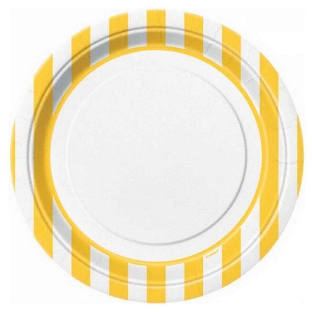Pratos Amarelos Riscas, 8Unid
