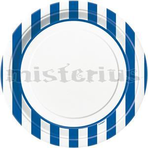 Pratos Azul Escuro Riscas, 8Unid.