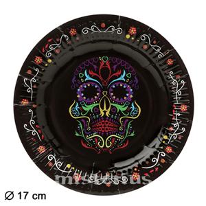 Pratos Caveira Mexicana 17 cm, 6 unid