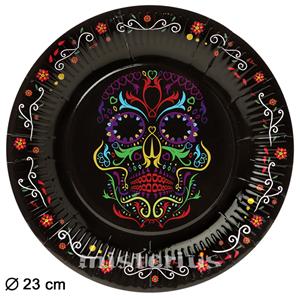 Pratos Caveira Mexicana 23 cm , 6 unid