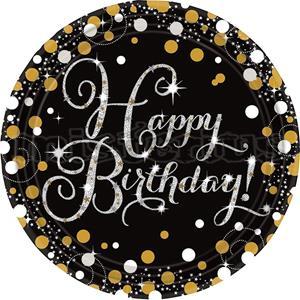 Pratos Happy Birthday Sparkling, 8 Unid.
