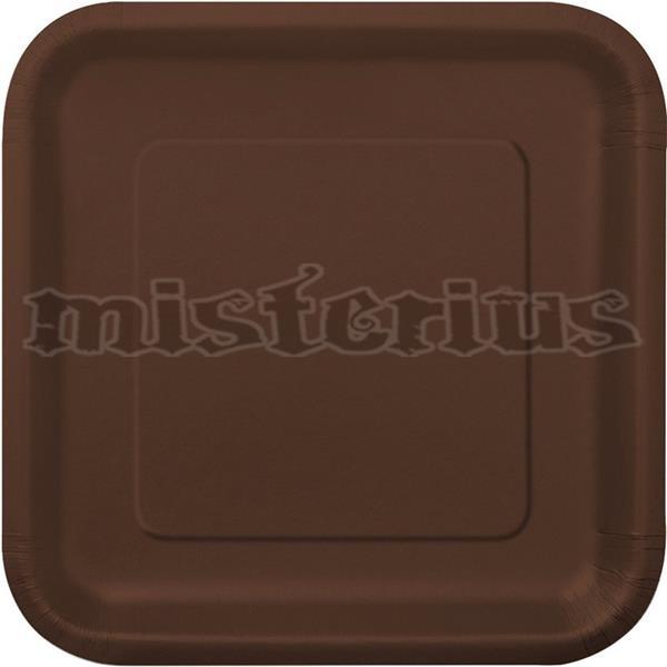 pratos quadrados castanhos, 14 unid.