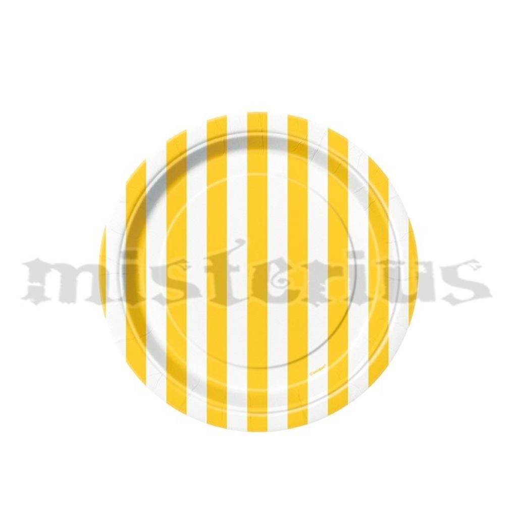 Pratos Riscas Amarelo Peq, 8unid