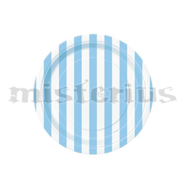 Pratos Riscas Azul Claro Peq. 8 Unid.