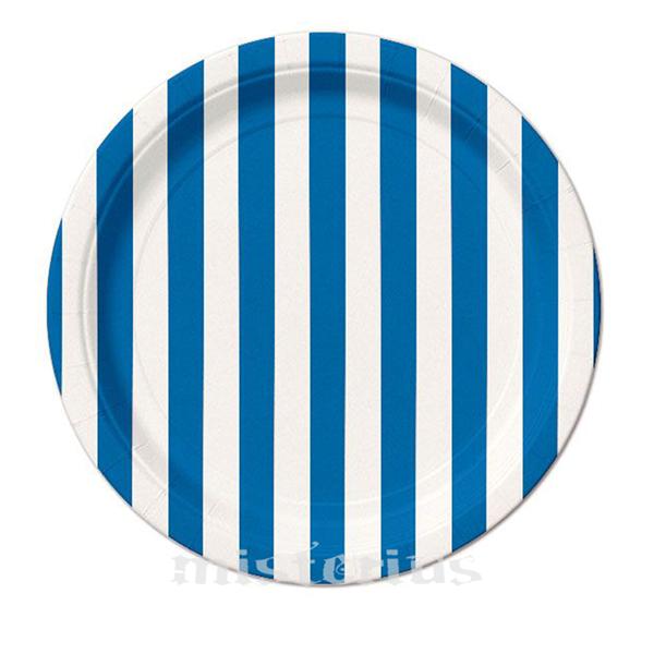 Pratos Riscas Azul Escuro Peq, 8 Unid.