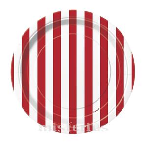 Pratos Riscas Vermelho Peq, 8 Unid