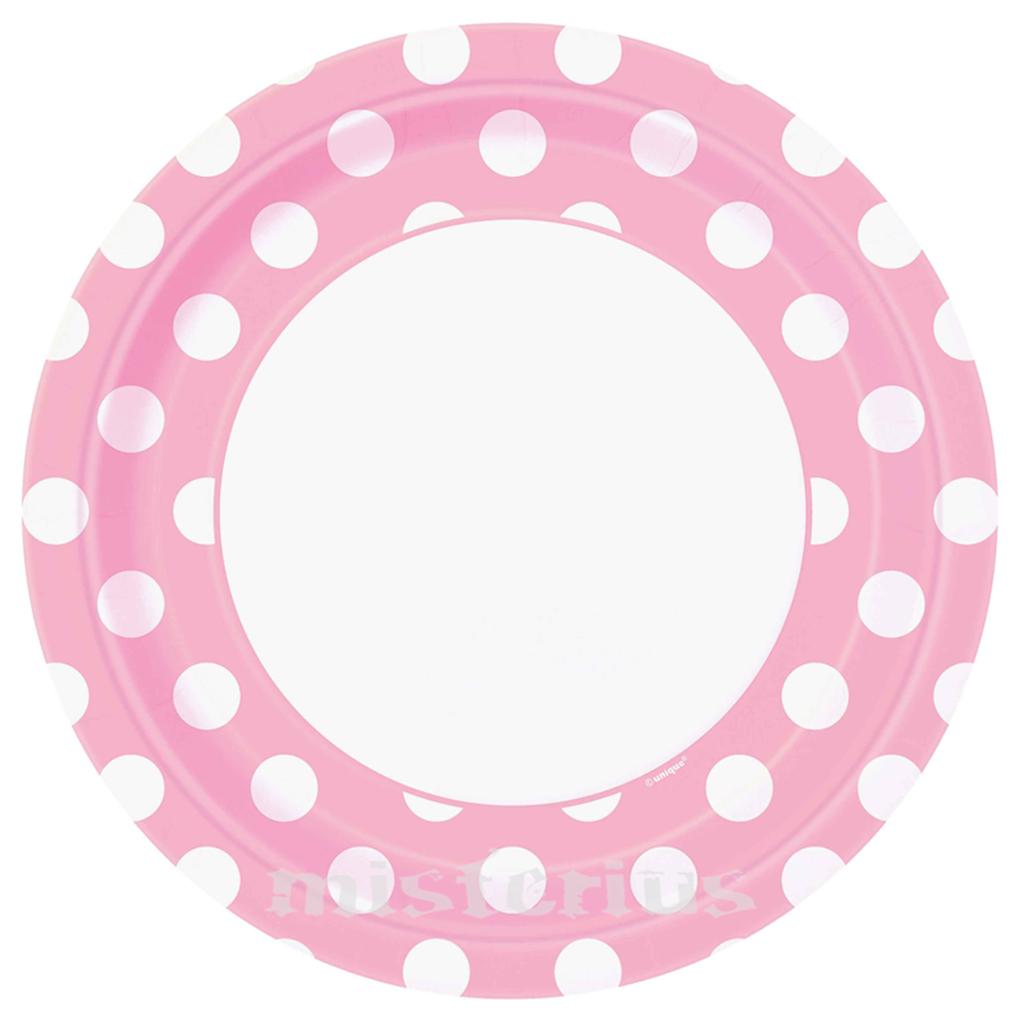 Pratos Rosa Bebé Bolinhas, 8unid