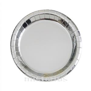Pratos Prateado Metalizado 17 Cm, 8 Unid.