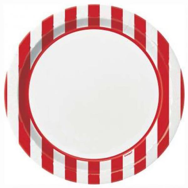 Pratos Vermelhos Riscas, 8Unid.
