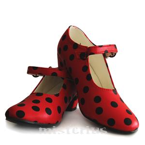 Sapatos Sevilhanas Vermelho com Bolinhas Pretas