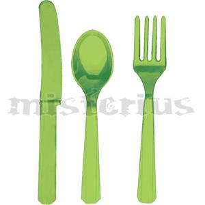 Talheres Plástico Verde Claro