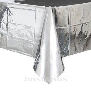 Toalha Mesa Prateada Metalizada, 137 x 274 Cm
