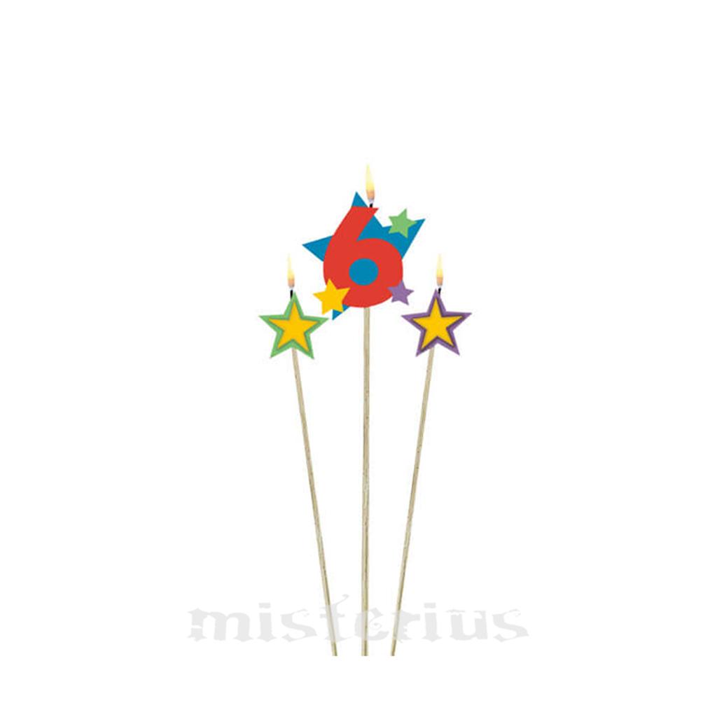 Velas Aniversário Estrelas Coloridas